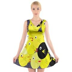 Yellow flock V-Neck Sleeveless Skater Dress