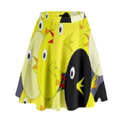 Yellow flock High Waist Skirt