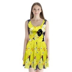 Yellow flock Split Back Mini Dress