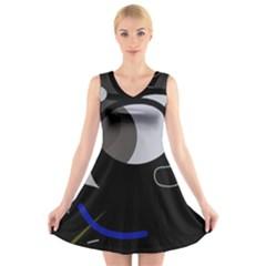 Gray Bird V Neck Sleeveless Skater Dress