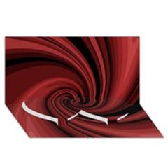 Elegant Red Twist Twin Heart Bottom 3d Greeting Card (8x4)