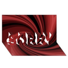 Elegant red twist SORRY 3D Greeting Card (8x4)