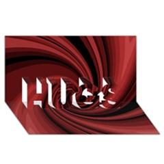 Elegant red twist HUGS 3D Greeting Card (8x4)