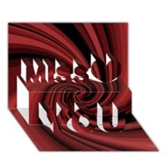 Elegant red twist Miss You 3D Greeting Card (7x5)