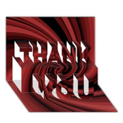 Elegant red twist THANK YOU 3D Greeting Card (7x5)