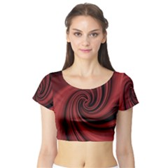 Elegant red twist Short Sleeve Crop Top (Tight Fit)