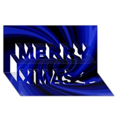 Blue decorative twist Merry Xmas 3D Greeting Card (8x4)