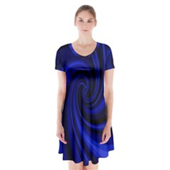 Blue Decorative Twist Short Sleeve V Neck Flare Dress
