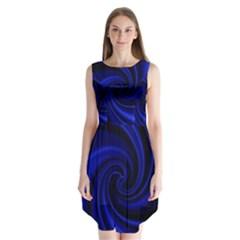 Blue decorative twist Sleeveless Chiffon Dress