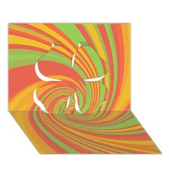Green and orange twist Clover 3D Greeting Card (7x5)