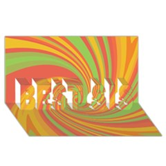 Green And Orange Twist Best Sis 3d Greeting Card (8x4)