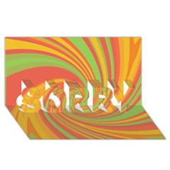 Green and orange twist SORRY 3D Greeting Card (8x4)