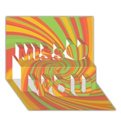 Green and orange twist Miss You 3D Greeting Card (7x5)