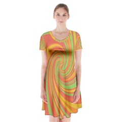 Green And Orange Twist Short Sleeve V Neck Flare Dress