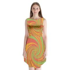 Green And Orange Twist Sleeveless Chiffon Dress