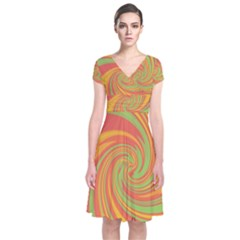 Green and orange twist Short Sleeve Front Wrap Dress