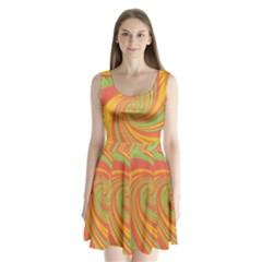 Green and orange twist Split Back Mini Dress