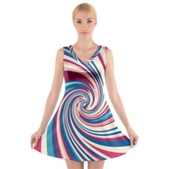 Lollipop V-Neck Sleeveless Skater Dress