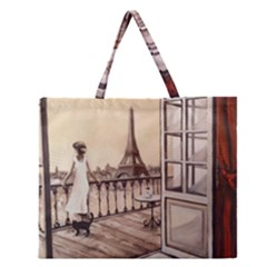 Paws For Thought  Paris Zipper Large Tote Bag