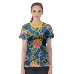 Floral Fantsy Pattern Women s Sport Mesh Tee