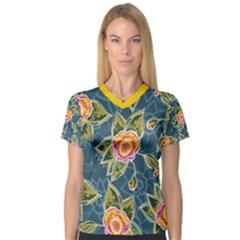 Floral Fantsy Pattern Women s V-Neck Sport Mesh Tee