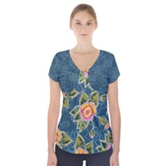 Floral Fantsy Pattern Short Sleeve Front Detail Top