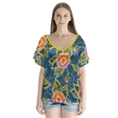 Floral Fantsy Pattern V Neck Flutter Sleeve Top