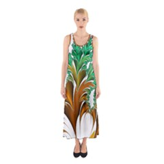 Colorful Fractal Feather Sleeveless Maxi Dress