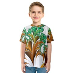 Colorful Fractal Feather Kids  Sport Mesh Tee