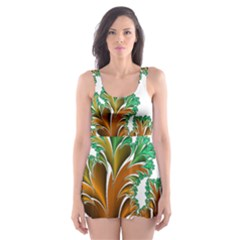 Colorful Fractal Feather Skater Dress Swimsuit