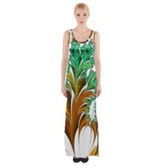 Colorful Fractal Feather Maxi Thigh Split Dress