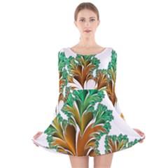 Colorful Fractal Feather Long Sleeve Velvet Skater Dress
