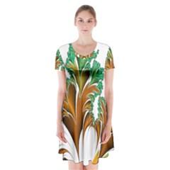 Colorful Fractal Feather Short Sleeve V-neck Flare Dress
