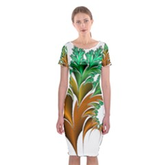 Colorful Fractal Feather Classic Short Sleeve Midi Dress