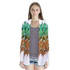 Colorful Fractal Feather Drape Collar Cardigan