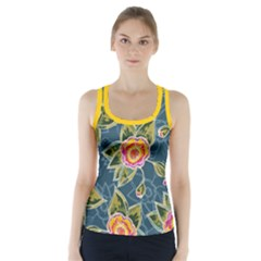 Floral Fantsy Pattern Racer Back Sports Top
