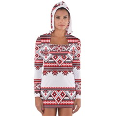 Consecutive Knitting Patterns Vector Women s Long Sleeve Hooded T-shirt