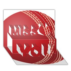 Cricket Ball Miss You 3D Greeting Card (7x5)
