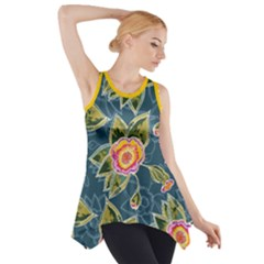 Floral Fantsy Pattern Side Drop Tank Tunic