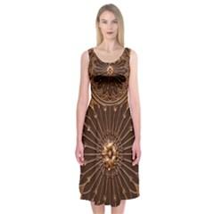 Decorative Antique Gold Midi Sleeveless Dress
