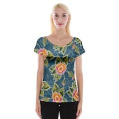 Floral Fantsy Pattern Women s Cap Sleeve Top