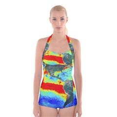 Earth Boyleg Halter Swimsuit
