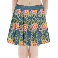 Floral Fantsy Pattern Pleated Mini Skirt