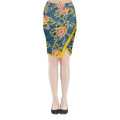 Floral Fantsy Pattern Midi Wrap Pencil Skirt