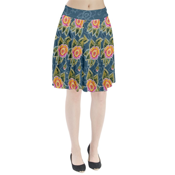 Floral Fantsy Pattern Pleated Skirt