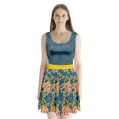 Blue Floral Pattern Split Back Mini Dress