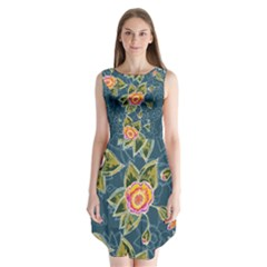 Floral Fantsy Pattern Sleeveless Chiffon Dress