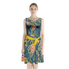 Floral Fantsy Pattern Sleeveless Chiffon Waist Tie Dress