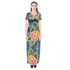 Floral Fantsy Pattern Short Sleeve Maxi Dress
