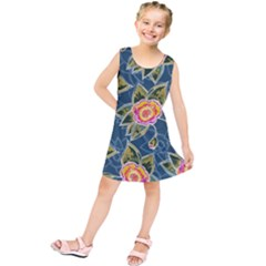 Floral Fantsy Pattern Kids  Tunic Dress